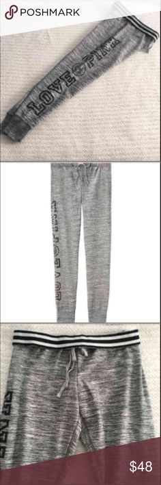 Sz XS Victoria's Secret PINK Gray BLING Gym Pants New in package from an online purchase. These will not have the VS tags attached, but they will be in the VS online plastic packaging.  Victoria's Secret PINK BLING Snow Heather Gym Pants  Size: X-SMALL  Heather Gray with Black Bling   Gym pants run true to size  Super cute! Pair with a black thermal or hoodie PINK Victoria's Secret Pants Track Pants & Joggers