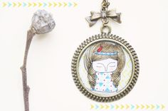 Necklace  Hand illustrated  Mixed media  MsPoco by MillyMilkVille, $11.80
