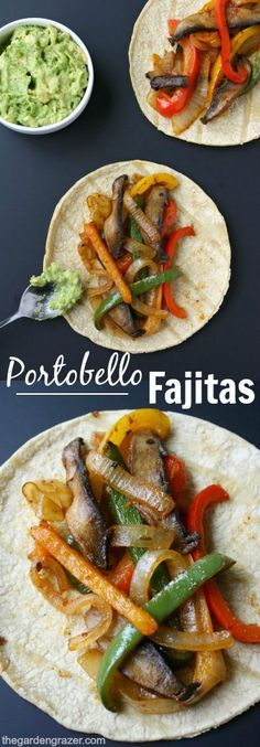 ) EASY and amazing portobello fajitas! So simple to make, and great for weeknight meals (vegan, gluten-free)EASY and amazing portobello fajitas! So simple to make, and great for weeknight meals (vegan, gluten-free) Veggie Dishes, Veggie Recipes, Mexican Food Recipes, Whole Food Recipes, Cooking Recipes, Healthy Recipes, Lunch Recipes, Diet Recipes, Simple Vegetarian Recipes