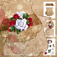 "Red & White Roses Golden Christmas Decoupage Shaped Card Making Mini Kit by Lisa Mayette This simple kit creates a 6x6.5"" qua-trefoil…"