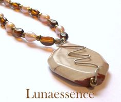 Pink Brown Moukaite Octagon Pendant Necklace by LunaEssence, $49.95 #onfireteam #lacwe #handmade #jewelry