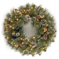 National Tree Company Glittery Pine Wreath With Snow-Tipped Pine Cones & 50 Clear Lights - Green Pre Lit Wreath, Christmas Wreaths With Lights, Lighted Wreaths, Artificial Christmas Wreaths, Diy Christmas Tree, Holiday Wreaths, Christmas Decorations, Christmas Ideas, Christmas Displays