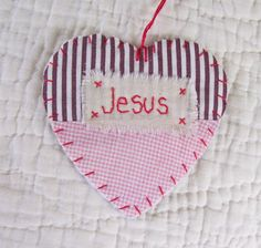 Wordz From the Heart Snippet Ornament - JESUS - Stitched From Recycled Vintage Quilt Piece. $7.00, via Etsy.