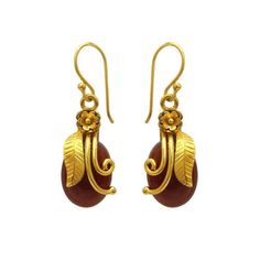 925 Sterling Silver 22kt Yellow Gold Plated Red onyx Gemstone Earrings Jewelry #ViditaJewels #DropDangle
