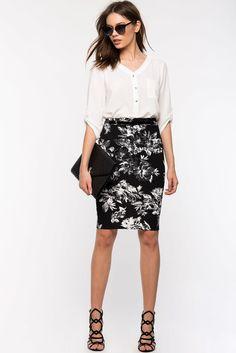 A'GACI | Black Garden Pencil Skirt | #Agaci