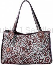 By Collection - Turquoise Flower - Double J Saddlery - Turquoise Floral New Medium Tote - NMT06