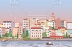 Residential area of Istanbul over strait - early morning cityscape, 44757, download royalty-free vector clipart (EPS)
