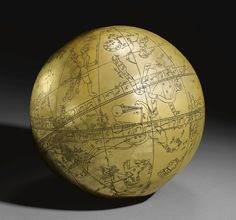 A Large Indo-Persian Brass Celestial Globe with an ascription to Hadi Isfahani and a date of 1197 AH/ 1782-3 AD of typical spherical form, the globe engraved with markings, figures and astrological symbols, inscriptive details throughout