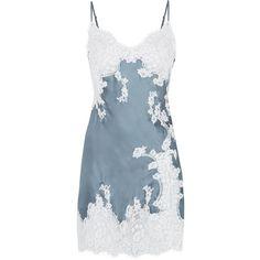 Marjolaine Jardin Short Chemise ($225) ❤ liked on Polyvore featuring intimates, chemises, pajamas, lingerie, sleepwear, underwear, chemise, lingerie chemise, silk chemise and lingerie slips