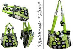 Multitasche *Dots/Retro* black-lemon von Die tapfere Schneiderin, handmade with love ... by Viola auf DaWanda.com