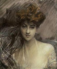 """Giovanni Boldini (Italian, 1842-1931) """"Ritratto di Madame Lucie Gerard"""""""