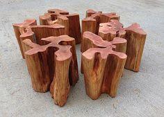 Móveis especiais em madeira maciça produzidos a partir de troncos e tora de…