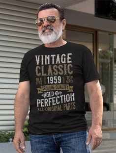 60th Anniversary Birthday Party T Shirt 1959 Vintage Aged To Perfection 60 Years Old Happy Men Women Gift Tee