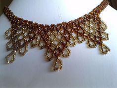 vintage seed bead necklace choker miyuki delicas amber, cognac browns, gold  #Choker