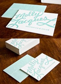 Beautiful Calligraphy And Typography On A Business Card For An Illustrator
