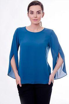 11654 Blusa Crepe Atenas Azul Petróleo
