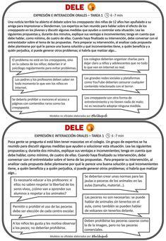 🗣5 tarjetas para preparar la prueba oral de DELE B2 (Tarea 1) y SIELE (Tareas 4 y 5) – Birlibirprofe Spanish Worksheets, Beginning Of Year, How To Speak Spanish, Learning Spanish, Reading Comprehension, Teaching, Texts, Learn Spanish, Frases