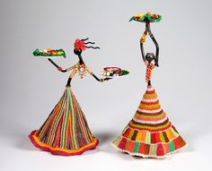 """""""The Men Eat First,"""" by Denise Perreault, Boulder, CO. Glass seed beads and findings over Indonesian folk art metal candle holders. African Dolls, African Art, Stone Crafts, Clay Crafts, Paper Dolls, Art Dolls, Quilling Work, Rolled Paper Art, African Crafts"""