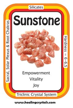 """Sunstone, """"I am proud of the person that I am.""""  Sunstone is known for its powerful connection to the light and power of the sun. Sunstone brings light to all situations, and carrying a piece around with you can help your personal power to """"shine."""" Once known as a stone of good luck, Sunstone has a bright, joyful energy that increases vitality and lightens dark moods."""
