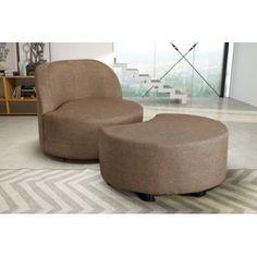 Modern Sofa - Fauteuil + pouf beige Simili cuir