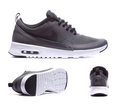 Nike Womens Air Max Thea Text Trainers Dark Grey Black White S92391