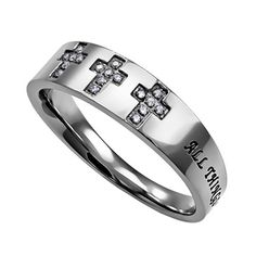 PHILIPPIANS 4:13 Christian Trinity Cross Ring, Engraved Bible Verse with CZ Stones