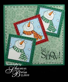 "et It Snowman Stamps: Jolly Snowman (Stamps Happen); Let it Snow (Penny Black) Paper: ""Bloom"" Daisy Chain from the Bloom & Grow collection (My Mind's Eye) Cardstock: Glorious Green, Real Red and Whisper White (Stampin' Up) Ink: Tuxedo Black (Memento) Copics: 100, B00, B01, B12, B14G12, R27, Y02, Y04 and Y07 Techniques: faux stitching with a hint of Warhol. Ill Tempered Ink: Let it Snow with GC81."