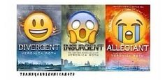 This sums up the divergent series pretty well with emojies! Divergent Hunger Games, Divergent Fandom, Divergent Trilogy, Divergent Insurgent Allegiant, Tfios, Tris And Four, Fangirl, The Fault In Our Stars, Book Fandoms