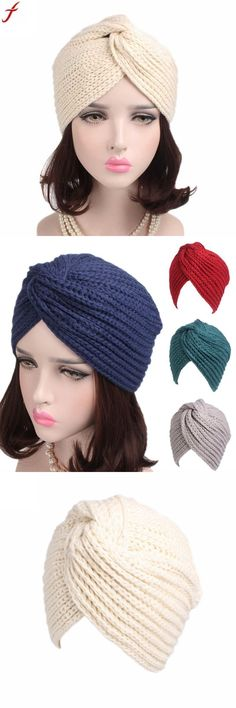 09a488d072e Spring autumn women's head wrap warm caps 2018 fashion women turban hat  retro winter knitting hat