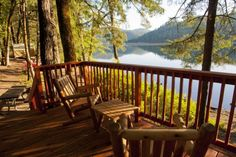 View from redwood deck at Cabin 3 at Mary Smith Campground, $65 a night; at Lewiston Lake