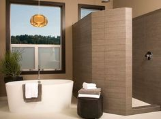 like freestanding bath and walkin shower, BAD windows Stylish Walk-in Shower Enclosures the Perfect Choice