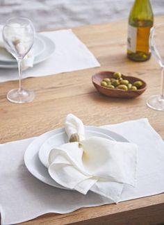 Blarney Irish Linen Classic Cream Chambray Placemats x - Linen Placemats, Placemat Sets, Linen Napkins, Napkins Set, Chambray, Irish Design, Woolen Mills, Ireland, Cream