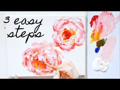 Anyone can paint a peony in acrylics using these 3 easy steps! I show you in real-time some acrylic painting techniques I use. Easy Flower Painting, Peony Painting, Acrylic Painting Flowers, Acrylic Painting Techniques, Watercolor Paintings Abstract, Painting Lessons, Acrylic Painting Canvas, Diy Painting, Flower Art