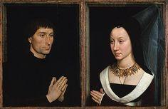 Hans Memling, double portrait of Tommaso di Folco Portinari (1428–1501) and Maria Portinari (Maria Maddalena Baroncelli, 1456–?), c. 1470, The Metropolitan Museum of Art, New York.