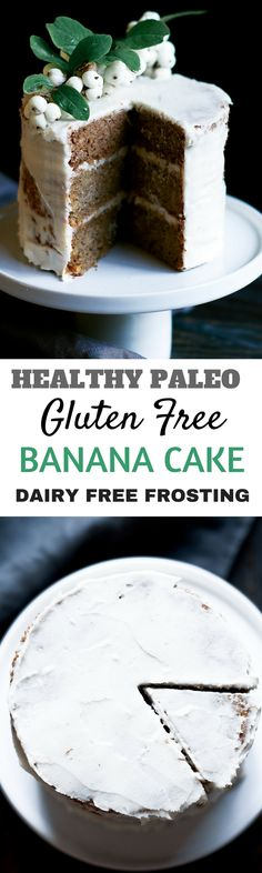 Healthy gluten free paleo banana cake. Moist, delicious, easy to make. Healthy cake desserts and beautiful food photogrpahy.