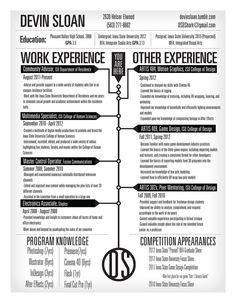 timeline resume by devin sloan via behance