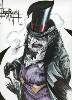 BATMAN VILLAN: The Penguin (Oswald Chesterfield Cobblepot) is a devious crime-boss who is seldom seen without one of his trick-umbrellas, and performs crimes based on birds. The Penguin uses his nightclub, the Iceberg Lounge, as a front for his criminal activities.