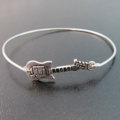 Guitar Bracelet Guitar Bangle Guitar Jewelry by FrostedWillow