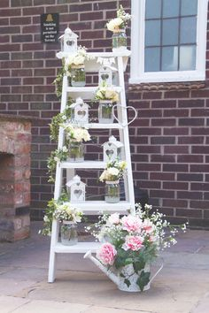 A vintage lace theme with blush pink accents formed the basis of this beautiful wedding in South Yorkshire, which featured unforgettable entertainment including a mind reader Ladder Wedding, Rustic Wedding, Diy Wedding Decorations, Wedding Ideas, Vintage Decoration Wedding, Wedding Week, Vintage Wedding Theme, Post Wedding, Wedding Themes