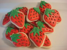 Mini Strawberry Decorated Sugar Cookies- (24) Two Dozen