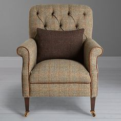 Buy Calluna Atlantic Tetrad Flynn Armchair with Brompton Leather Trim from our Armchairs range at John Lewis & Partners. English Country Style, Modern Country, English Farmhouse, Furniture Upholstery, Living Room Furniture, Living Room Green, Harris Tweed, Farmhouse Furniture, Fabric Wallpaper
