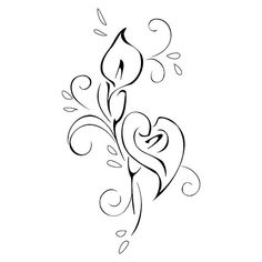 calla lily tattoo stencil MIRRORED | tattoo so that if you t… | Flickr