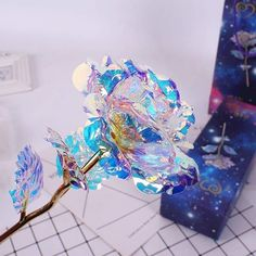 Galaxy Rose Flower Valentine's Day Lovers' Gift Romantic Crystal Rose With Box Cristal Rose, Forever Rose, Magical Jewelry, Fantasy Jewelry, Resin Crafts, Cute Jewelry, Cupid, Glass Art, Best Gifts