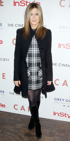 Look of the Day - November 17, 2014 - Jennifer Aniston in a plaid dress #InStyle