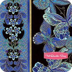 Shimmer Turquoise Butterflies Stripe Yardage SKU# CM9295-TURQUOISE