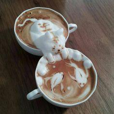 Cat and fish pond latte art.