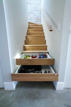 Home Storage solutions for a split level entryway Selecting The Right Patio Furniture Cushions Artic Stair Drawers, Stair Storage, Hidden Storage, Extra Storage, Staircase Storage, Stairs With Storage, Hidden Shelf, Secret Storage, Understairs Shoe Storage