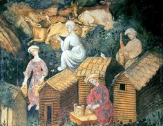 Detail from the June fresco at Castello Buonconsiglio, c. 1405-1410. Milking, carrying milk, churning butter, and making cheese.