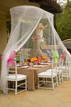 tea party under a mesh canopy tent