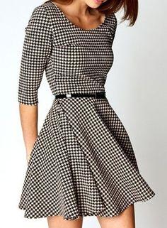 Vestido [estampa Pied-de-Poule]